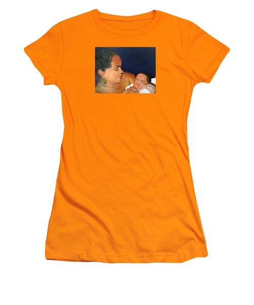 Women's T-Shirt (Athletic Fit) featuring the painting Ashli And Middleton by Marlene Book