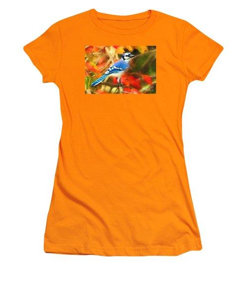 Autumn Blue Jay Women's T-Shirt (Junior Cut) by Tina LeCour