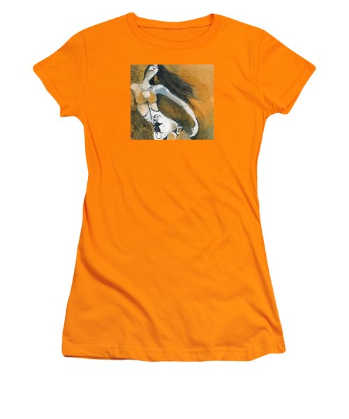 Women's T-Shirt (Junior Cut) featuring the painting Autumn Golds by Maya Manolova
