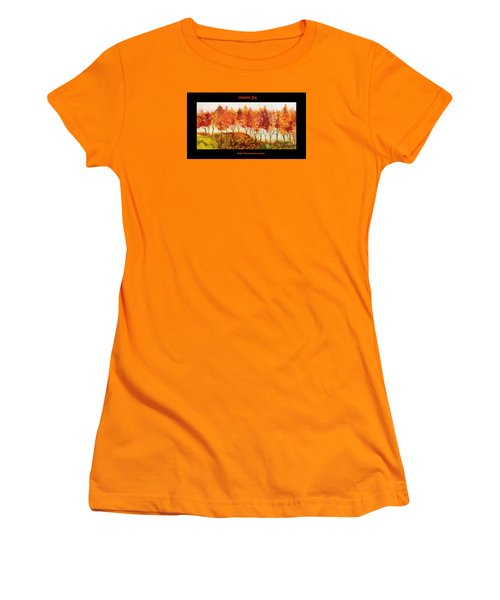 Women's T-Shirt (Junior Cut) featuring the painting Autumn Joy by Suzanne Canner