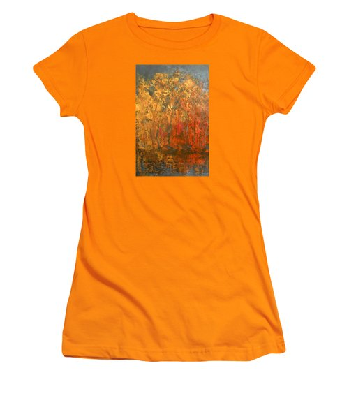 Women's T-Shirt (Junior Cut) featuring the painting Autumn Reflections 1 by Jane See