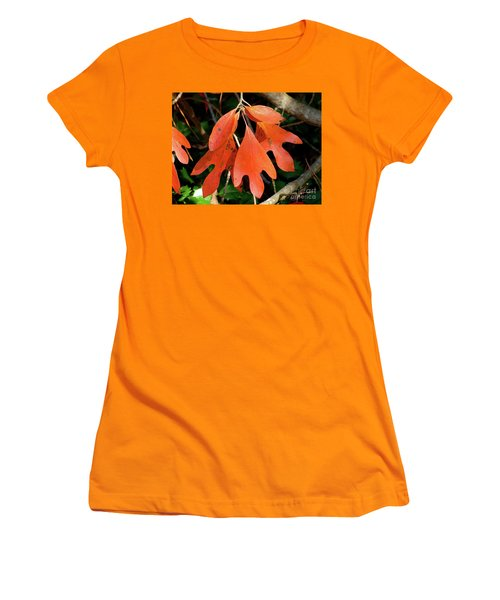 Autumn Sassafras Leaves Women's T-Shirt (Athletic Fit)