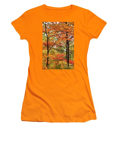 Women's T-Shirt (Junior Cut) featuring the photograph Autumn Splendor Fall Colors Leaves And Trees by Dan Carmichael
