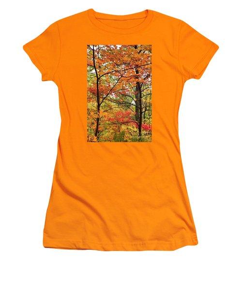 Autumn Splendor Fall Colors Leaves And Trees Women's T-Shirt (Junior Cut) by Dan Carmichael