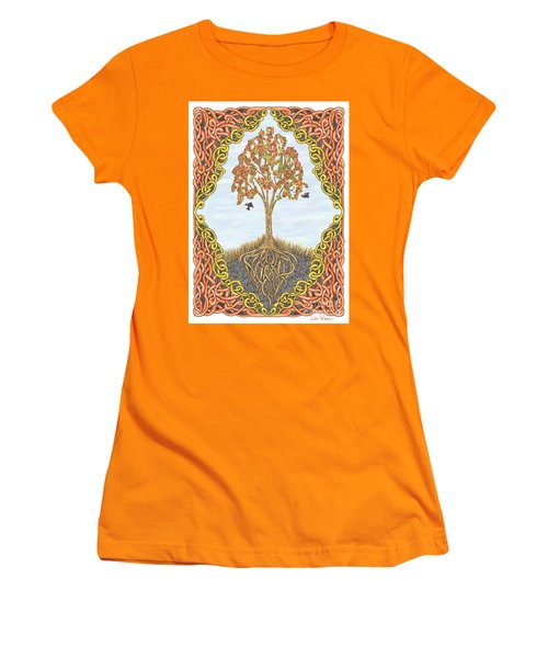 Autumn Tree With Knotted Roots And Knotted Border Women's T-Shirt (Junior Cut) by Lise Winne