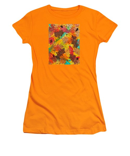 Autumn Leaves Underfoot Women's T-Shirt (Junior Cut) by Michele Myers