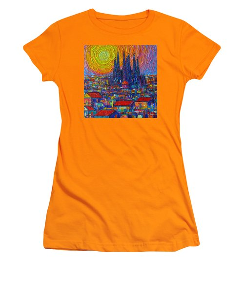 Barcelona Colorful Sunset Over Sagrada Familia Abstract City Knife Oil Painting Ana Maria Edulescu Women's T-Shirt (Athletic Fit)
