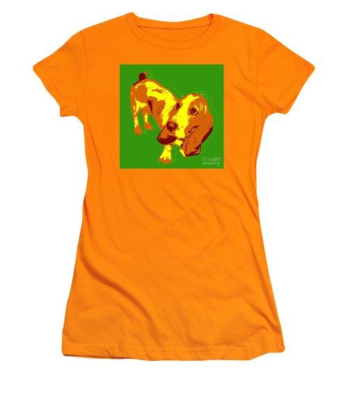 Women's T-Shirt (Junior Cut) featuring the digital art Basset Hound Pop Art by Jean luc Comperat