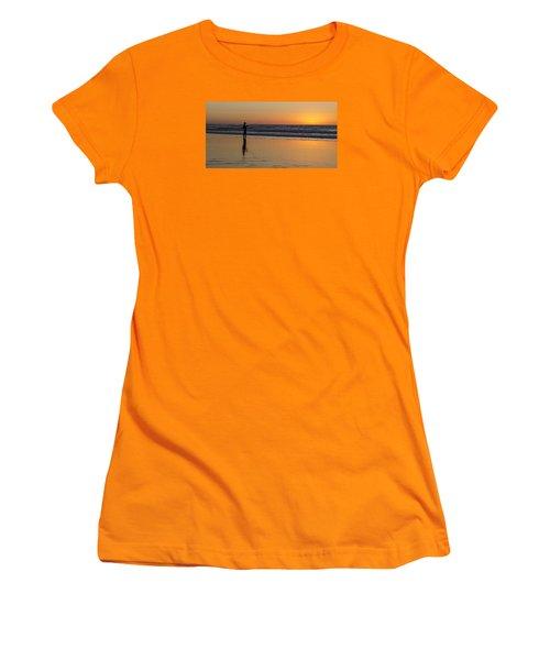 Beach Fishing At Sunset Women's T-Shirt (Junior Cut) by Ed Clark