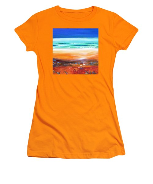 Women's T-Shirt (Junior Cut) featuring the painting Beach Joy by Winsome Gunning