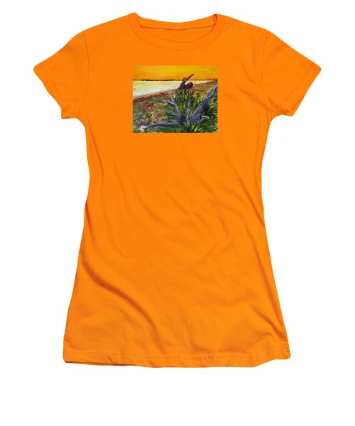 Women's T-Shirt (Junior Cut) featuring the painting Beach Sunset by Jack G  Brauer