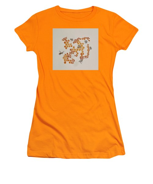 Women's T-Shirt (Junior Cut) featuring the painting Bee Hive # 3 by Katherine Young-Beck