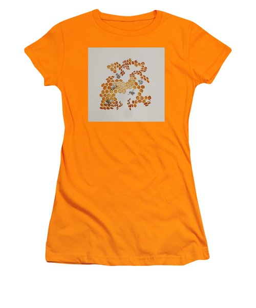 Women's T-Shirt (Junior Cut) featuring the painting Bee Hive # 5 by Katherine Young-Beck