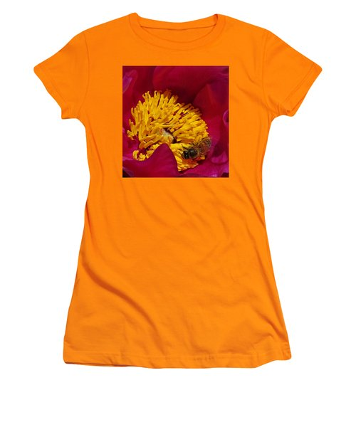 Bee On A Burgundy And Yellow Flower2 Women's T-Shirt (Junior Cut) by John Topman