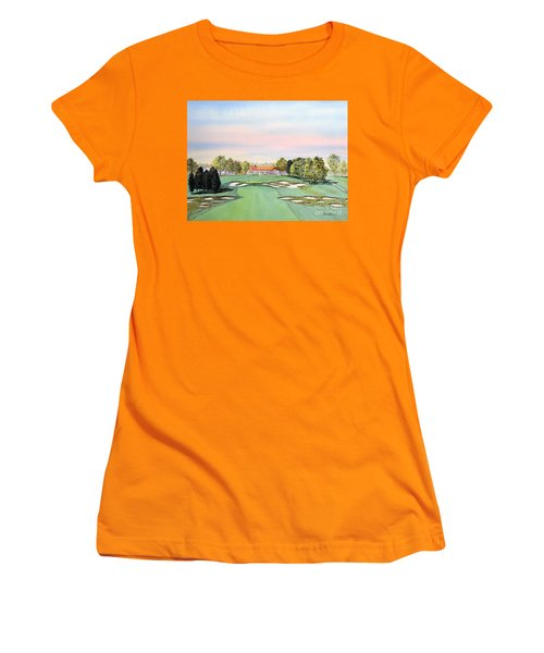 Women's T-Shirt (Athletic Fit) featuring the painting Bethpage State Park Golf Course 18th Hole by Bill Holkham