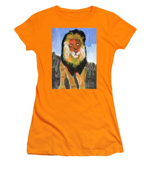Women's T-Shirt (Athletic Fit) featuring the painting Big Lion King by Donald J Ryker III