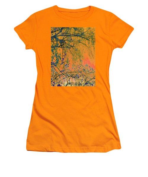 Birch Tree And Orange Sky - Winter Women's T-Shirt (Junior Cut) by Brooks Garten Hauschild