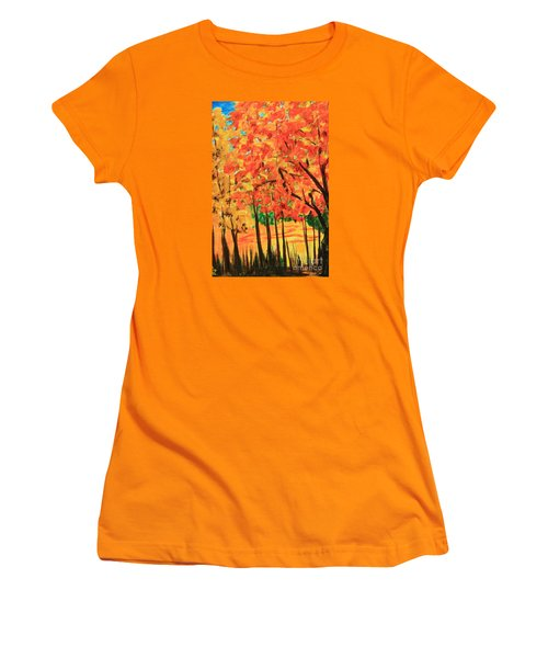Birch Tree /autumn Leaves Women's T-Shirt (Junior Cut) by Nancy Czejkowski