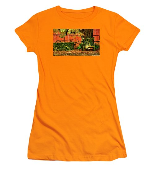 Women's T-Shirt (Athletic Fit) featuring the photograph Birdhouse Chair In Autumn by Jeff Folger