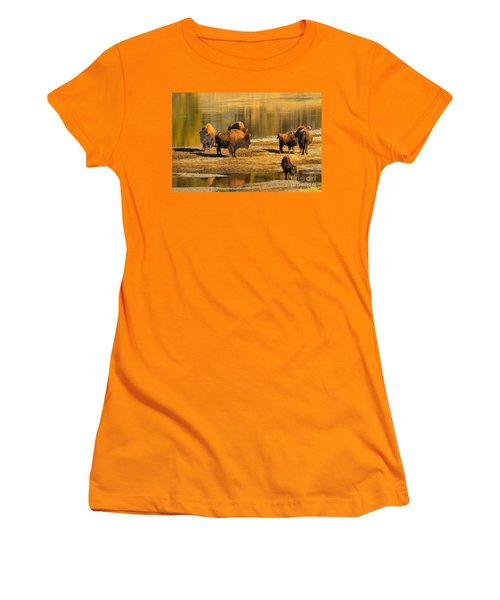 Women's T-Shirt (Junior Cut) featuring the photograph Bison Family Crossing by Adam Jewell