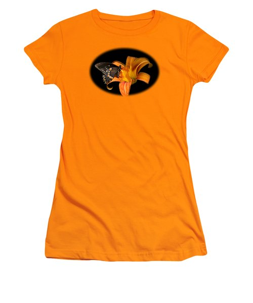 Black Beauty Butterfly Women's T-Shirt (Junior Cut) by Christina Rollo