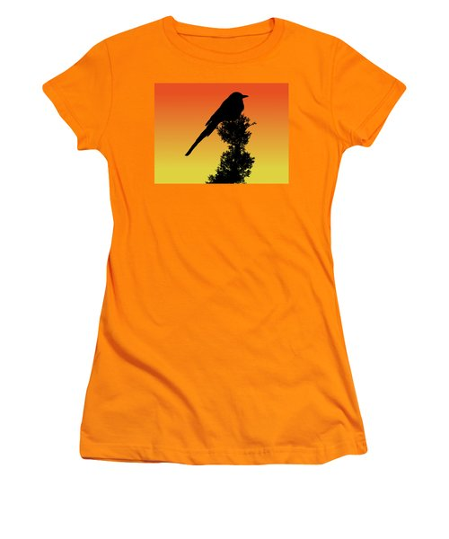 Black-billed Magpie Silhouette At Sunset Women's T-Shirt (Athletic Fit)
