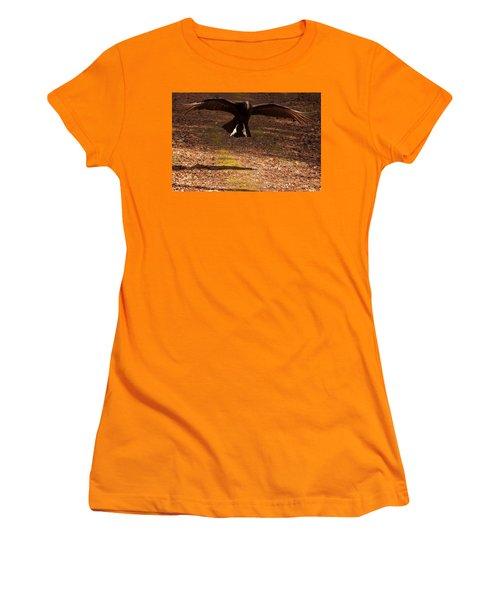 Women's T-Shirt (Junior Cut) featuring the digital art Black Vulture Landing by Chris Flees