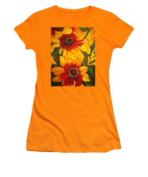Women's T-Shirt (Junior Cut) featuring the painting Blanket Flower by Lil Taylor
