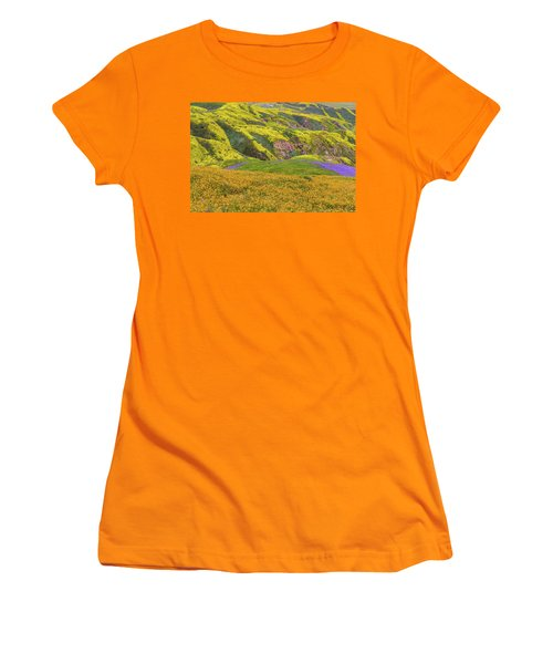 Blazing Star On Temblor Range Women's T-Shirt (Junior Cut) by Marc Crumpler