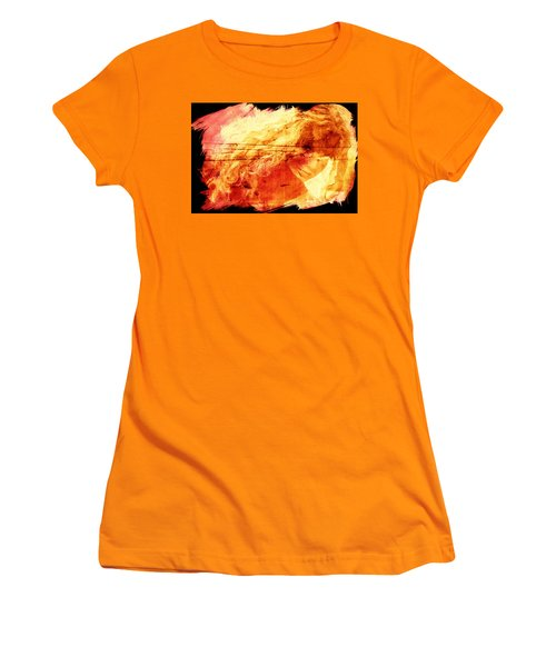 Blonde On Red Fire Women's T-Shirt (Junior Cut) by Andrea Barbieri