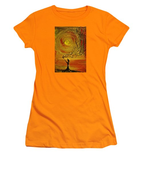 Women's T-Shirt (Junior Cut) featuring the painting Blossom by Evelina Popilian
