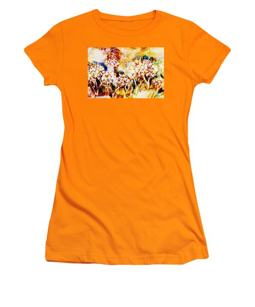 Women's T-Shirt (Athletic Fit) featuring the painting Blossom Morning by Winsome Gunning