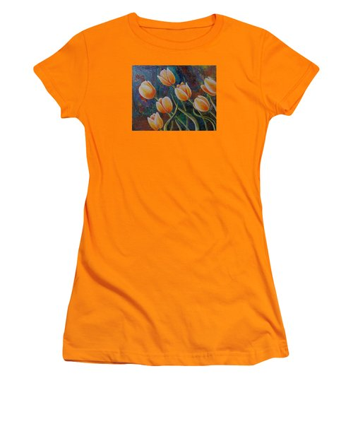 Women's T-Shirt (Junior Cut) featuring the painting Blowing In The Wind by Susan DeLain