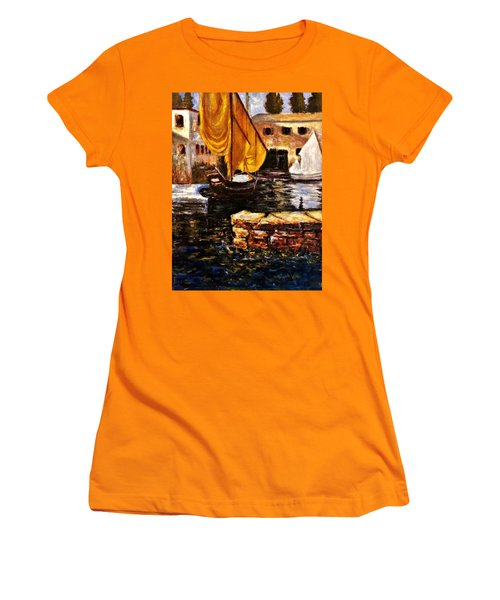 Boat With Golden Sail,san Vigilio  Women's T-Shirt (Junior Cut) by Cristina Mihailescu