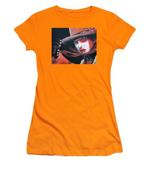 Bob Dylan Women's T-Shirt (Junior Cut) by Tom Carlton