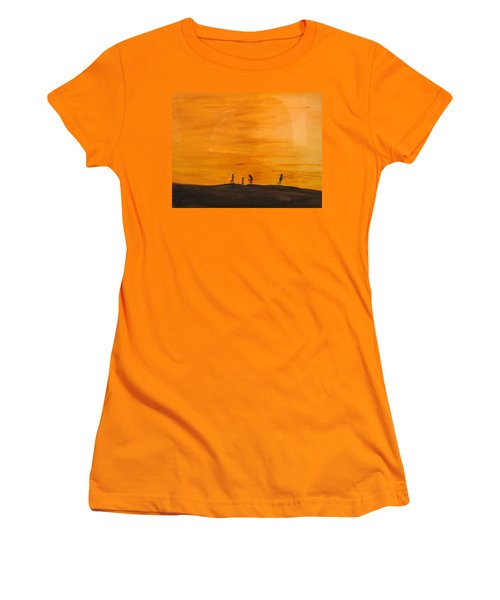 Women's T-Shirt (Junior Cut) featuring the painting Boys At Sunset by Ian  MacDonald
