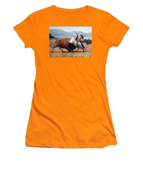 Buffalo Hunt Women's T-Shirt (Junior Cut) by Tom Roderick