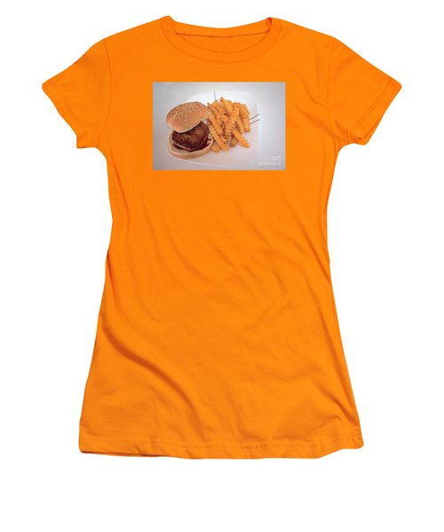 Burger And Fries Women's T-Shirt (Junior Cut) by Anne Rodkin
