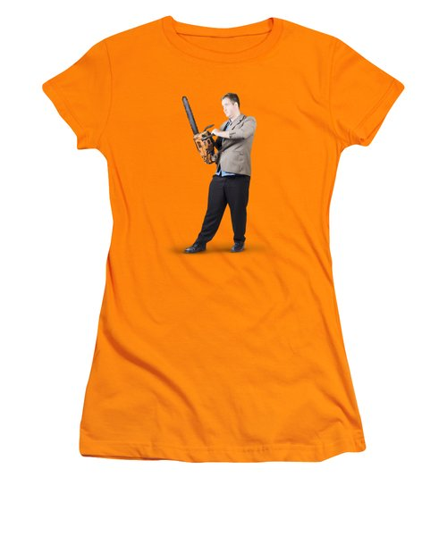 Women's T-Shirt (Junior Cut) featuring the photograph Businessman Holding Portable Chainsaw by Jorgo Photography - Wall Art Gallery