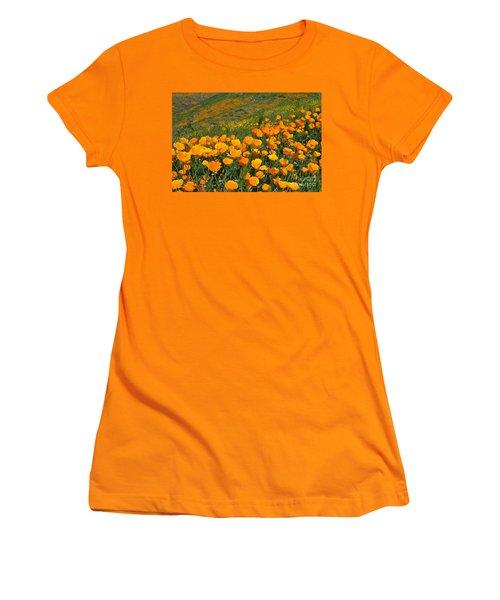 California Golden Poppies And Goldfields Women's T-Shirt (Junior Cut) by Glenn McCarthy