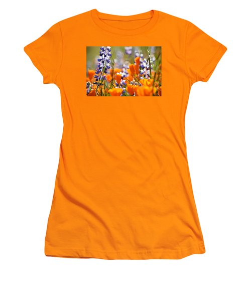 California Poppies And Lupine Women's T-Shirt (Junior Cut) by Kyle Hanson