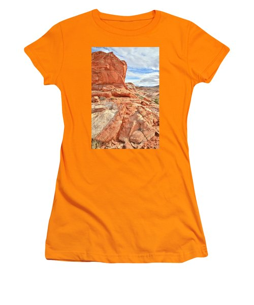 Castle High Above Wash 5 In Valley Of Fire Women's T-Shirt (Junior Cut) by Ray Mathis