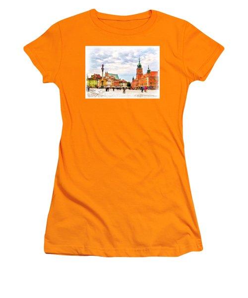 Women's T-Shirt (Junior Cut) featuring the painting Castle Square, Warsaw by Maciek Froncisz