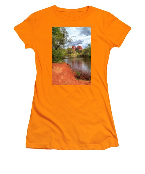 Women's T-Shirt (Athletic Fit) featuring the photograph Cathedral Rock From Oak Creek by James Eddy