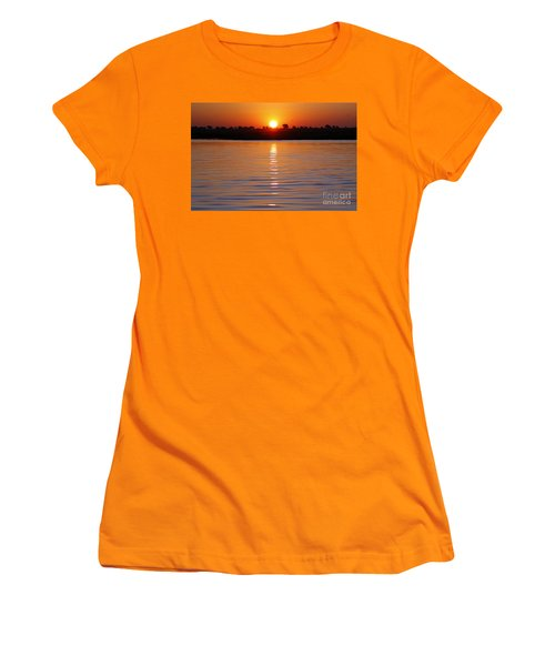 Women's T-Shirt (Junior Cut) featuring the photograph Chobe River Sunset by Myrna Bradshaw