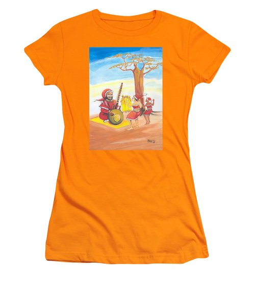 Women's T-Shirt (Junior Cut) featuring the painting Christmas In Senegal by Emmanuel Baliyanga
