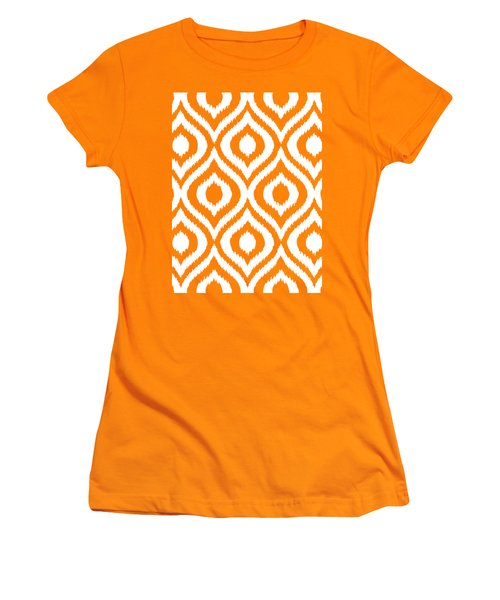Circle And Oval Ikat In White N03-p0100 Women's T-Shirt (Athletic Fit)