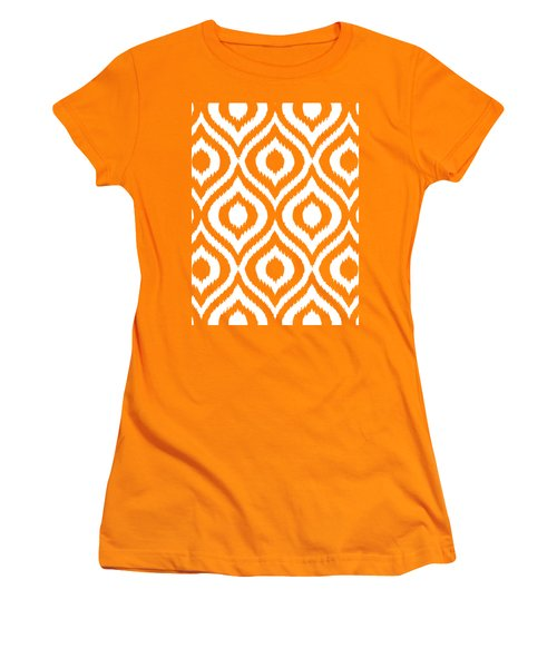Circle And Oval Ikat In White T03-p0100 Women's T-Shirt (Athletic Fit)
