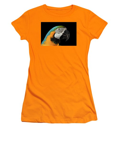 Closeup Portrait Of A Blue And Yellow Macaw Parrot Face Isolated On Black Background Women's T-Shirt (Athletic Fit)