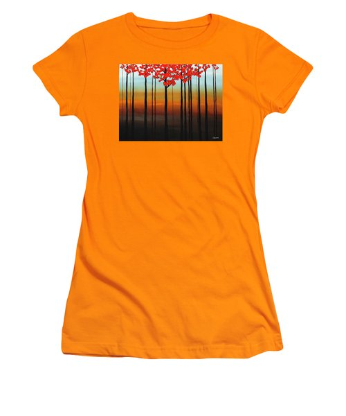 Women's T-Shirt (Junior Cut) featuring the painting Coastal Radiance by Carmen Guedez